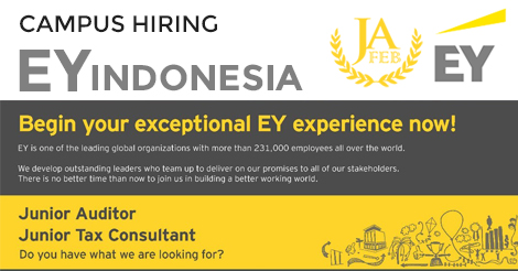 Campus Hiring EY Indonesia: Junior Auditor, Junior Tax Consultant [update Rundown Acara]