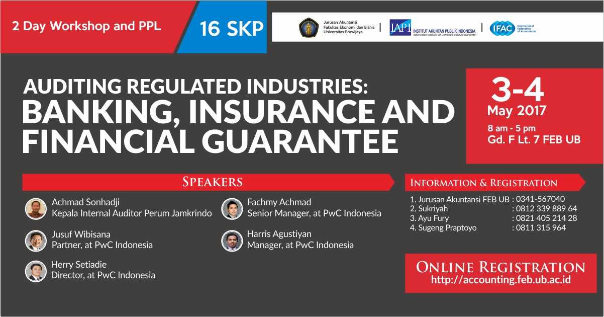 2 Day Workshop and PPL – AUDITING REGULATED INDUSTRIES:  BANKING, INSURANCE AND FINANCIAL GUARANTEE