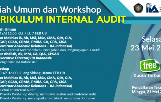"Public Lecture and Workshop ""Internal Audit Curriculum"""